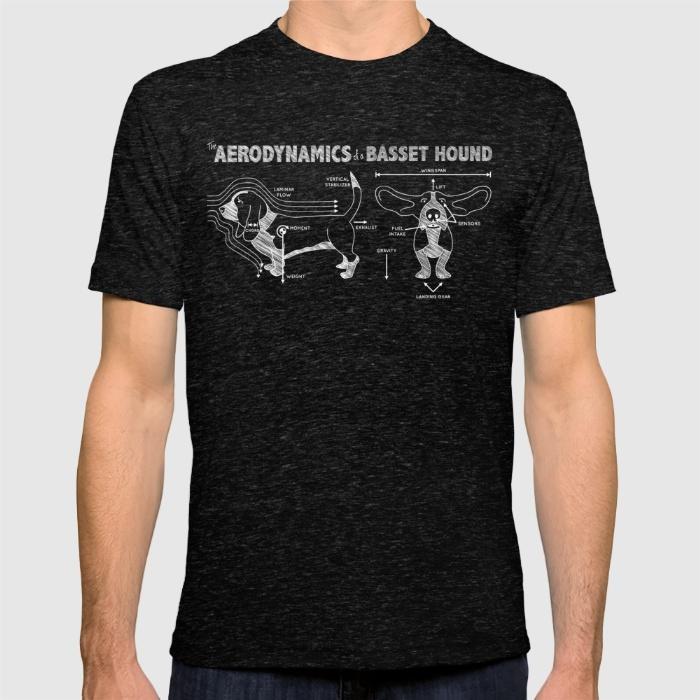 the-aerodynamics-of-a-basset-hound-tshirts